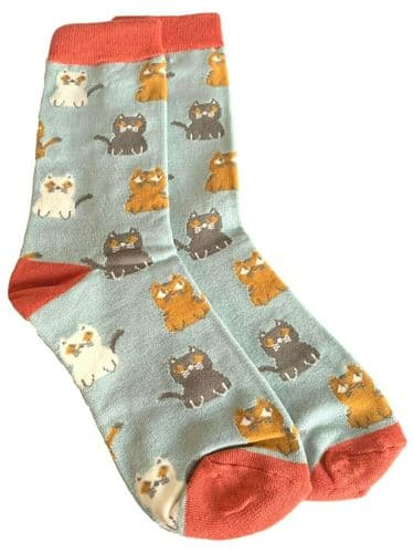 Cat Socks Ladies Bamboo Cotton Blend Cats Print Blue Orange Cute Ankle Socks